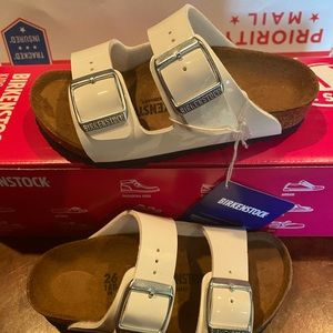 Birkenstock Arizona kids white patent 8 n new